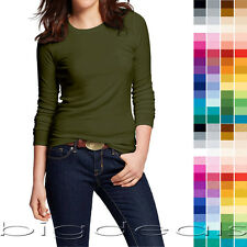Basic Crew Neck T Shirt Solid Plain Top Layer Stretch Fitted Blank Women 3020