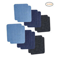 12pcs Denim Patches Iron-on Jeans DIY Clothes Repair Decorative Sticker 5 Colors