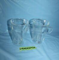 2 Bodum Clear Glass Tall Coffee Mugs With Handles