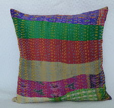 Multi Patchwork Silk Cushion Cover Kantha Stitch Indian Pillow Sham Home Decor