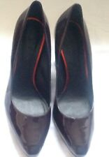 Paul Smith Women's Burgundy Shiny Leather  Court Shoes with Block Heel. Size 40