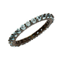 Stacking 925 Silver Blue Topaz Stone Stackable Eternity Women Wedding Band Ring