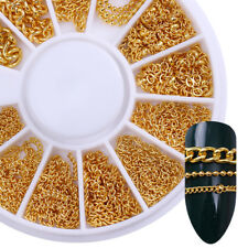 Gold Metal Chain Beads Line Snake Bone 3D Nail Art Decoration in Wheel Manicure
