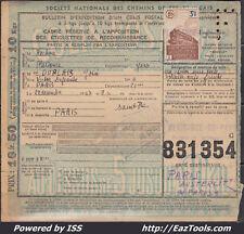 FRANCE COLIS POSTAUX N°208 SUR BULLETIN D'EXPEDITION DU 22/12/1943