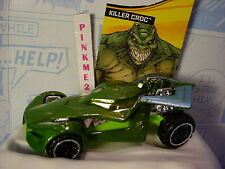 Batman 2016 Hot Wheels Killer Croc vehicle✰Green✰Loose Rogues Gallery✰Dc Comics