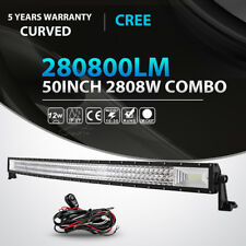 TRI-ROW 50INCH 2808W CURVED LED Light Bar Combo fit for Jeep Dodge Ram 4WD ATV
