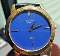 Seiko Men's Quartz Wrist Watch - Blue Dial - Leather Strap