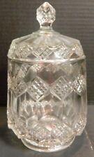 "Vintage Clear Depression Pattern Glass Cracker Jar w/ Lid 8.5"" x 5.25"" Excellent"