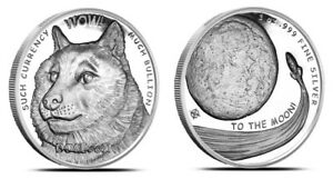 Physical Dogecoin OPM NTR Metals Fine .999 Silver Round Coin 1 oz Doge The Moon