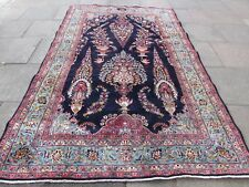 Old Hand Made Traditional Persian Rug Oriental Wool Blue Large Carpet 303x195cm