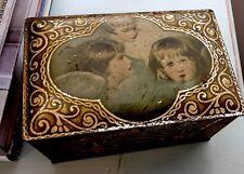Vintage Tindeco Gorgeous Gilded Putti Angels Advertising Christmas Tin Rare