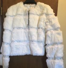WOMENS  DAMSELLE  FOX RABBIT STUDDED FUR Leather JACKET WHITE Size 12