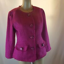 NWT Joan Rivers Women's Blazer Hot Pink Sparkly Button Up Size 4