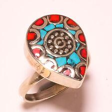 Tibetan Turquoise Red Coral Gemstone Jewelry Adjustable Nepali Ring RD-151