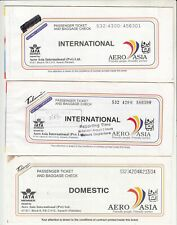 PAKISTAN AERO ASIA AIRLINES PASSENGER TICKET AND BAGGAGE CHECK LOT OF 3 DIFFEREN