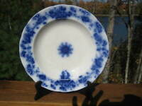 "ANTIQUE / VINTAGE FLOW BLUE SERVING BOWL 10 1/2 "" DIAMETER STAFFORDSHIRE"