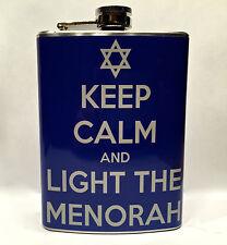 Keep Calm And Light The Menorah Flask 8oz Stainless Steel Hanukkah Gift Jewish