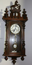 Vintage Junghans German made solid wood large wall clock w/horse finial 34""