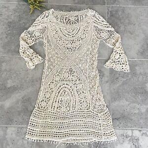 Free People Jens Pirate Booty Women Ivory Crochet Mini Dress Beach Cover-Up XS/S
