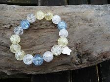 Beach Inspired  Stretchy Bracelet, Blue, Yellow & White Crackle Quartz