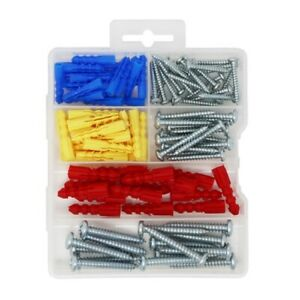Plastic Self Drilling Drywall Ribbed Anchors with Screws Assortment Kit,100 Pcs