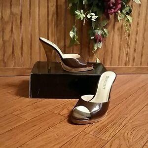 Colin Stuart Brown Leather Slides Sandals Shoes