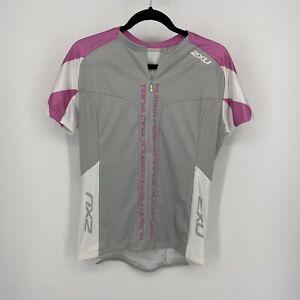 2XU Gray/Pink 1/2 Zip Up Work Out Cycling Jersey Shirt Women's Sz XL