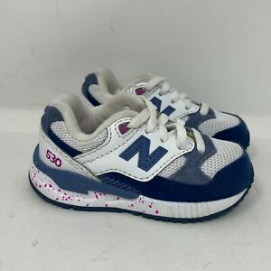 New Balance Baby 530 KL530GPI White Navy Running Shoes Low Top Lace Up Size 6 M