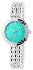 Damenuhr Türkis Silber Perlen Kugeln Chrono-Look Armbanduhr IMP-180826000006
