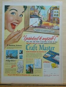 1953 magazine ad for Craft Master Paint By Number oil painting sets