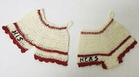 VTG HAND CROCHETED HIS & HERS HOT PADS POT HOLDERS RED & WHITE SET FREE SHIP