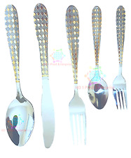 30 PC GLAMOUR STAINLESS STEEL CUTLERY SET IN GOLD & SILVER KITCHEN SERIES