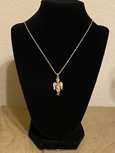 10K Solid Gold Angel Pendant With Diamonds & Chain Religious Necklace
