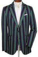 2018 NEW Navy Green Striped Men's Jackets Coats Blazers 38 40 42 44+ Custom Size