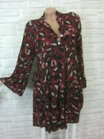 Hippie Blogger Hängerchen Kleid Tunika Volant Print 38 40 42 Bordeaux K399 Italy