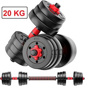 20kg Adjustable Rubber Dumbbell Set Weights Dumbbells Barbell Home Gym Equipment
