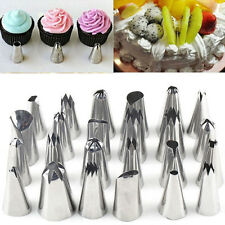 24 Icing Nozzles Set Piping Bag Stainless Steel Cake Decorating Pastry Tool UK