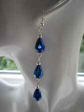 Long Drop / Dangle Earrings - Royal Blue Crystal Droppers, Silver Plated