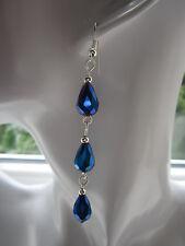 Pendientes colgantes de larga caída/- Azul Real Goteros De Cristal, chapado en plata