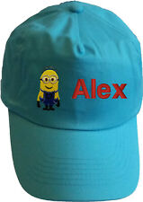 Personalised embroidered kids children baseball cap hat white or sky blue