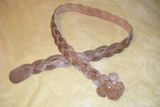 Tan Braided Leather Belt With Flower Buckle Hook Size L