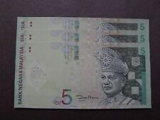 MALAYSIA RM5 POLYMER BANK NOTE ZETI 3 PCS - UNC