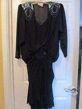 Vintage beaded black evening dress, size 4
