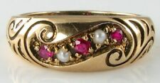 LOVELY 9k 9CT GOLD VINATGE INSP BLOOD RUBY & PEARL SWIRL GYPSY RING