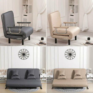 Occasional Sofa Bed Folding Futon Chair with Pillow Wheels Single Sleeper Guest