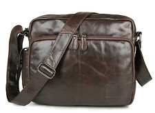 Mens Genuine Leather Shoulder Messenger Cross body Bag Satchel Large Capacity