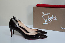 7 / 37 Christian Louboutin IRIZA Burgundy Patent Leather Pointed Toe Pump Shoes