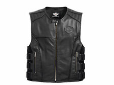 Harley Davidson Men SWAT S.W.A.T 2 II Black Leather Vest Military 98066-13VM 3XL