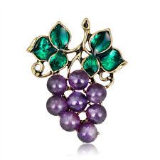 Party Brooch Gifts Lady Jewel Hv Purple Enamel Grape Brooch Pin Banquet Weddings