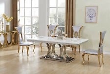 ELEGANT STUNNING EMPYREAN SILVER DINING TABLE MARBLE FURNITURE & 8 AZURE CHAIRS